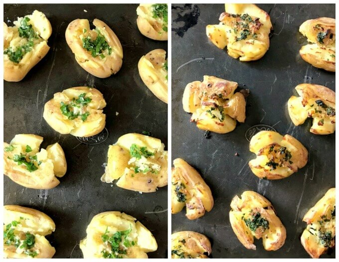 Collage of 2 photos to show the before and after cooking the garlic smashed potatoes