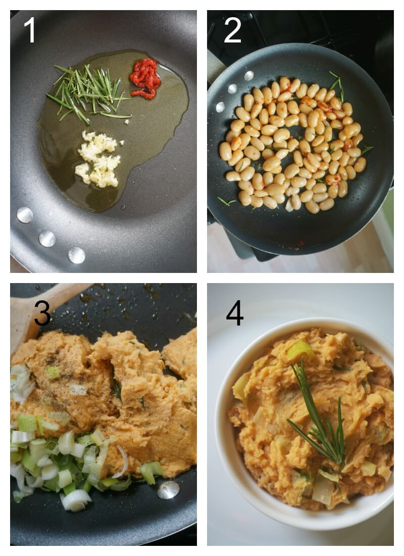 Collage of 4 photos to show how to make white bean mash