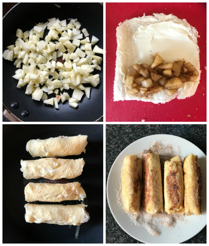 Collage of 4 photos to show step-by-step instructions how to make Apple Pie French Toast Roll-Ups