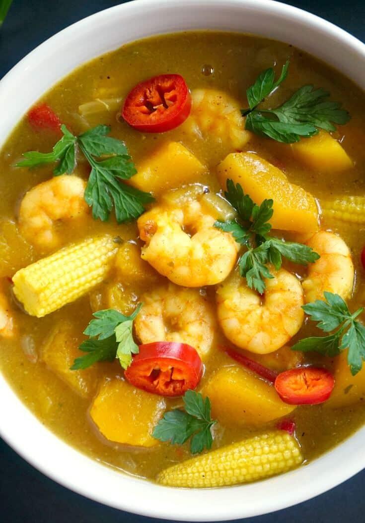 Close-up shoot of a bowl of coconut shrimp curry
