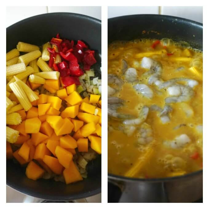 Collage of 2 photos to show how to make coconut shrimp curry