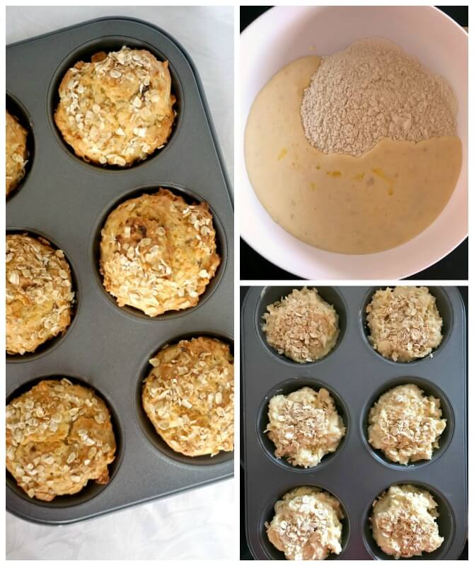 Collage of 3 photos to show how to make healthy banana muffins for kids