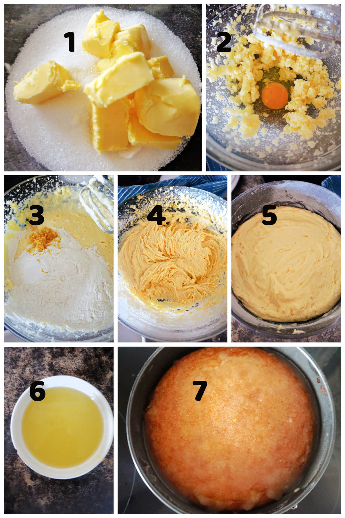Collage of 7 photos to show how to make lemon drizzle cake