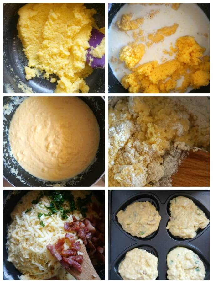 Collage of 6 photos to show step-by-step instructions how to make Cornbread Waffles with Bacon and Cheddar