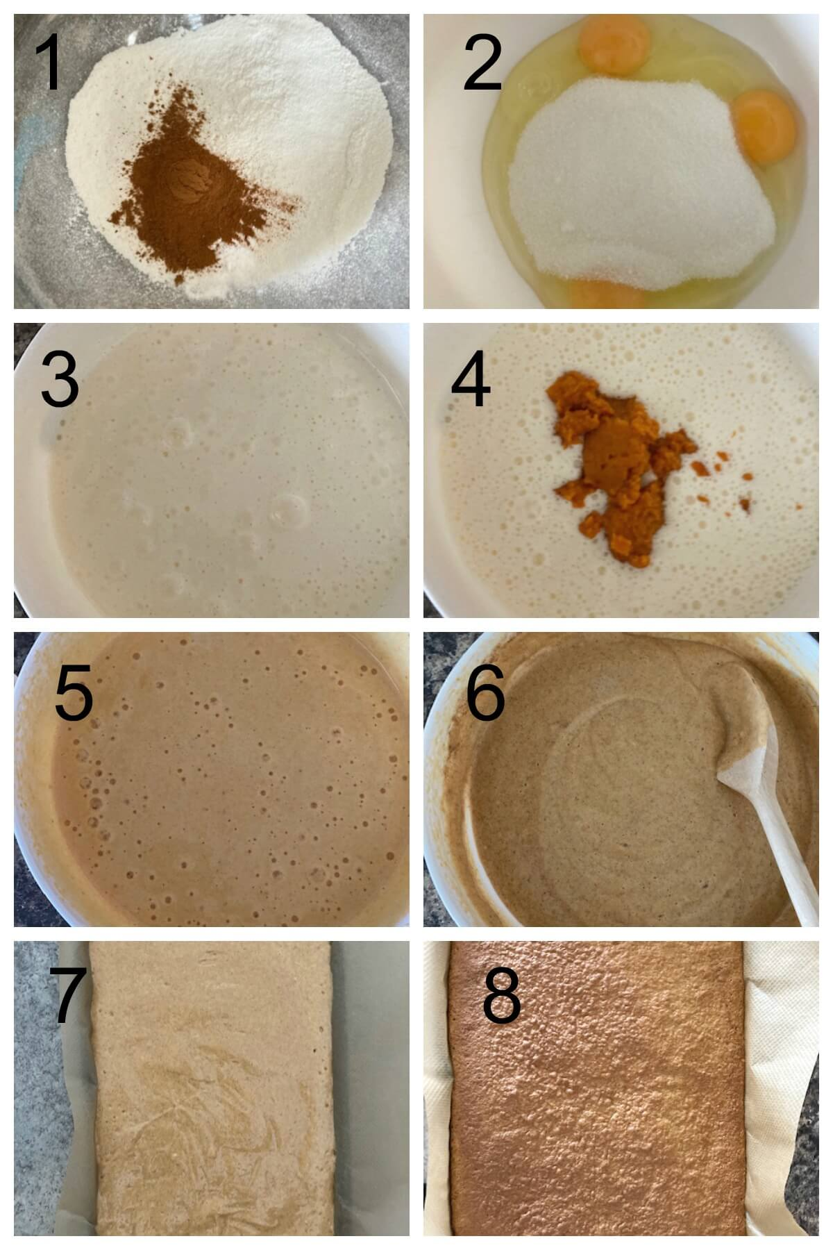 Collage of 8 photos to show how to make the sponge for the pumpkin roll