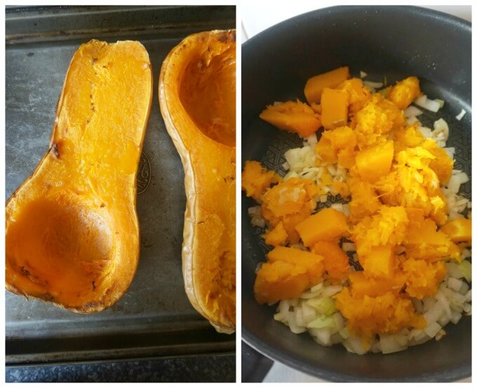 Collage of 2 photos to show how to make Roasted Butternut Squash Soup
