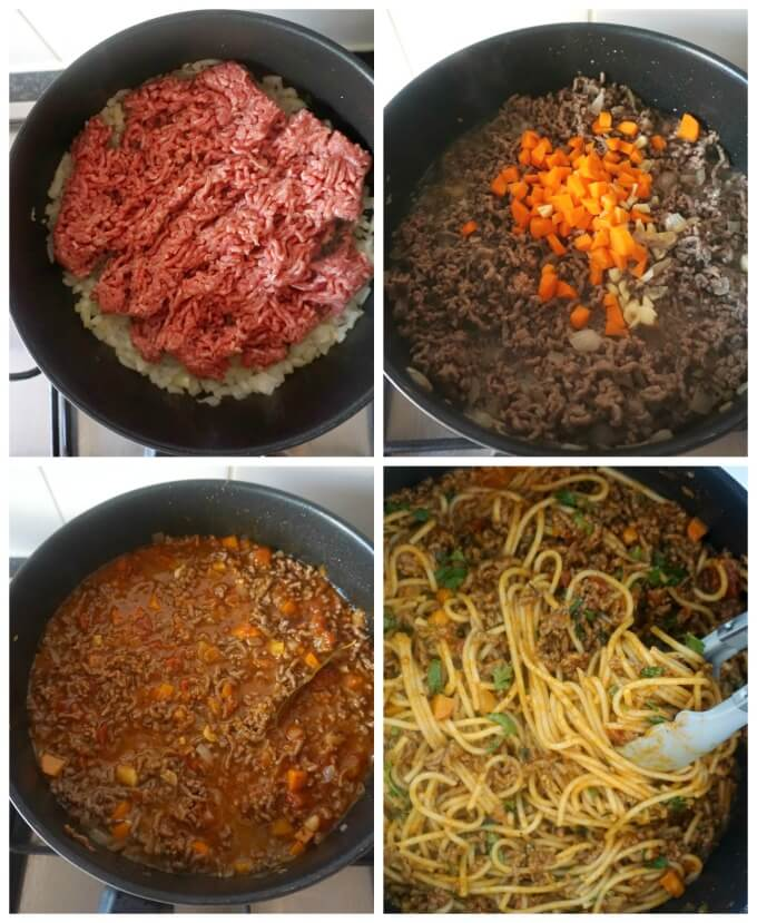 Collage of 4 photos to show how to make spaghetti bolognese