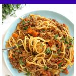 Spaghetti Bolognese with vegetables, the best comfort food no matter the season. A fabulous homemade bolognese sauce full of big flavours, and the nation's favourite pasta make the best combo for a healthy and nutritious dinner. A kids' favourite pasta recipe. This is a great midweek recipe for the whole family that uses simple ingredients to create a deep and rich Italian recipe that has everyone talking about. #spaghettibolognese, #bolognesesauce, #comfortfood, #dinnerrecipes, #healthyrecipes