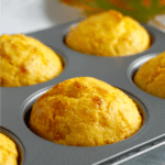 Cornbread muffins in a muffin tin