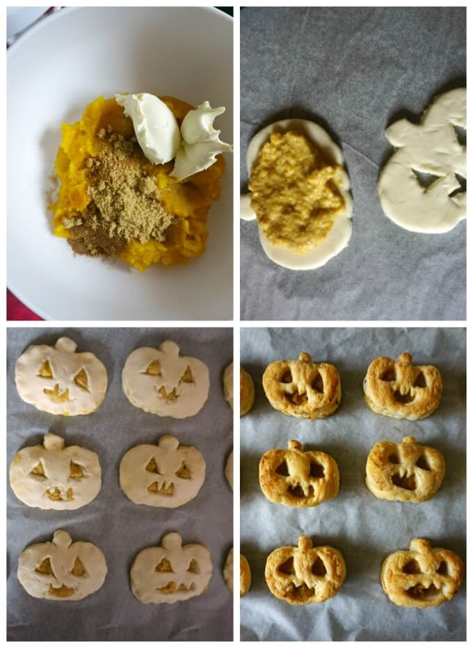 Collage of 4 photos to show how to make Jack-O'-Lantern Pumpkin Hand Pies