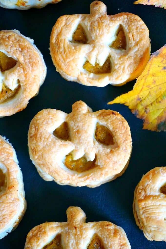 Close-up shot of Jack-O'-Lantern Pumpkin Hand Pies