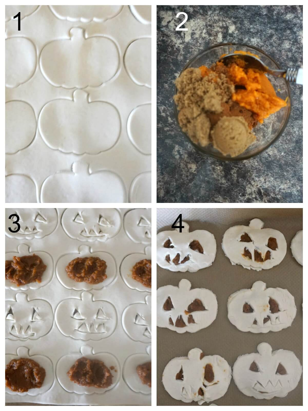 Collage of 4 photos to show how to make pumpkin hand pies