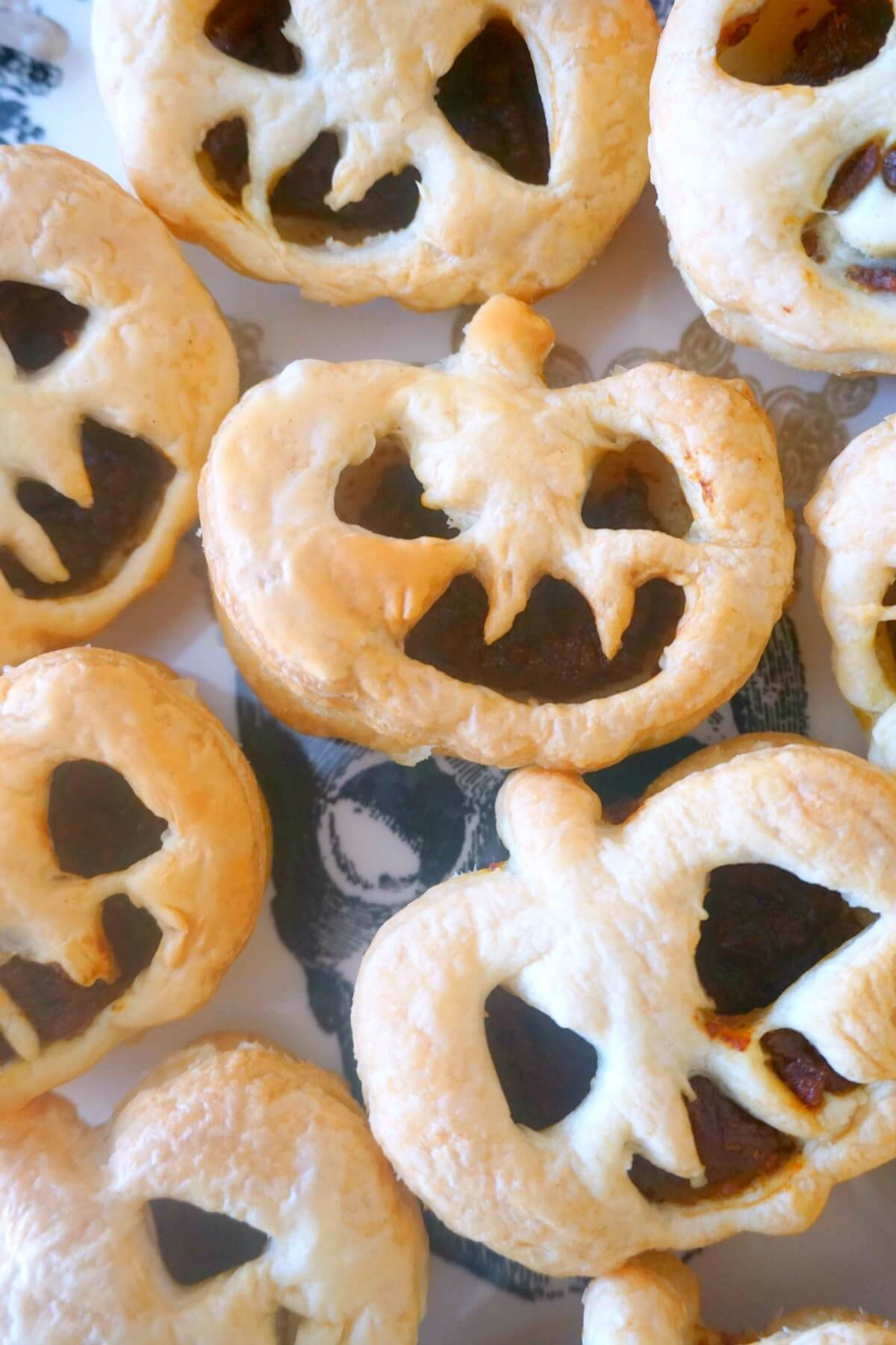 Close-up shoot of Jack O'Lantern pumpkin pies