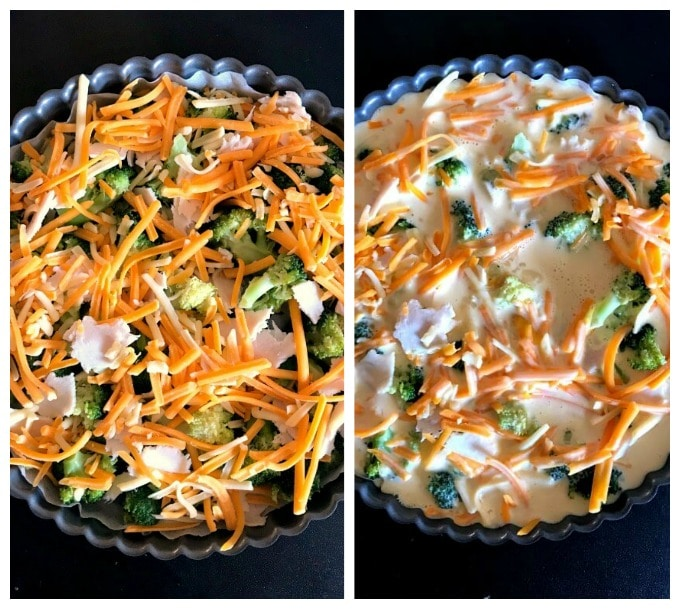Collage of 2 photos to show how to make Low Carb Crustless Broccoli and Cheese Quiche
