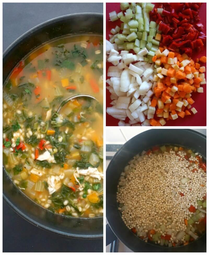 Collage of 3 photos to show how to make chicken and barley soup
