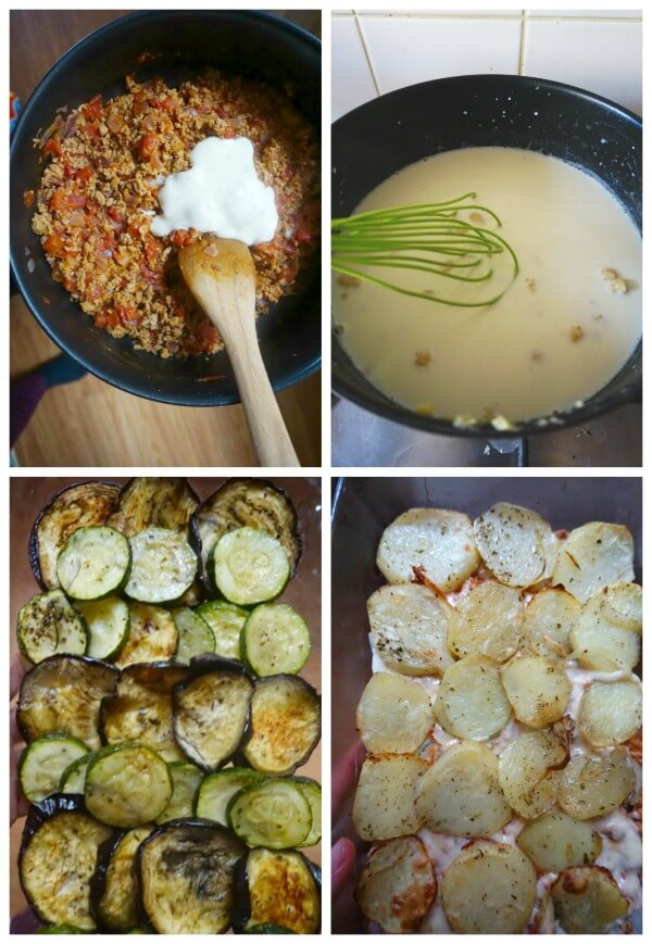 Collage of 4 phptps to show how to make greek moussaka