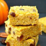 A stack of 3 healthy pumpkin oatmeal bars