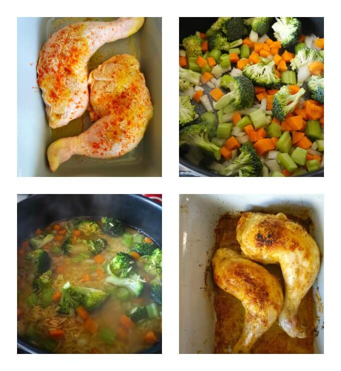 Collage of 4 photos to show how to make Roasted Chicken Leg Quarters with Vegetable Orzo
