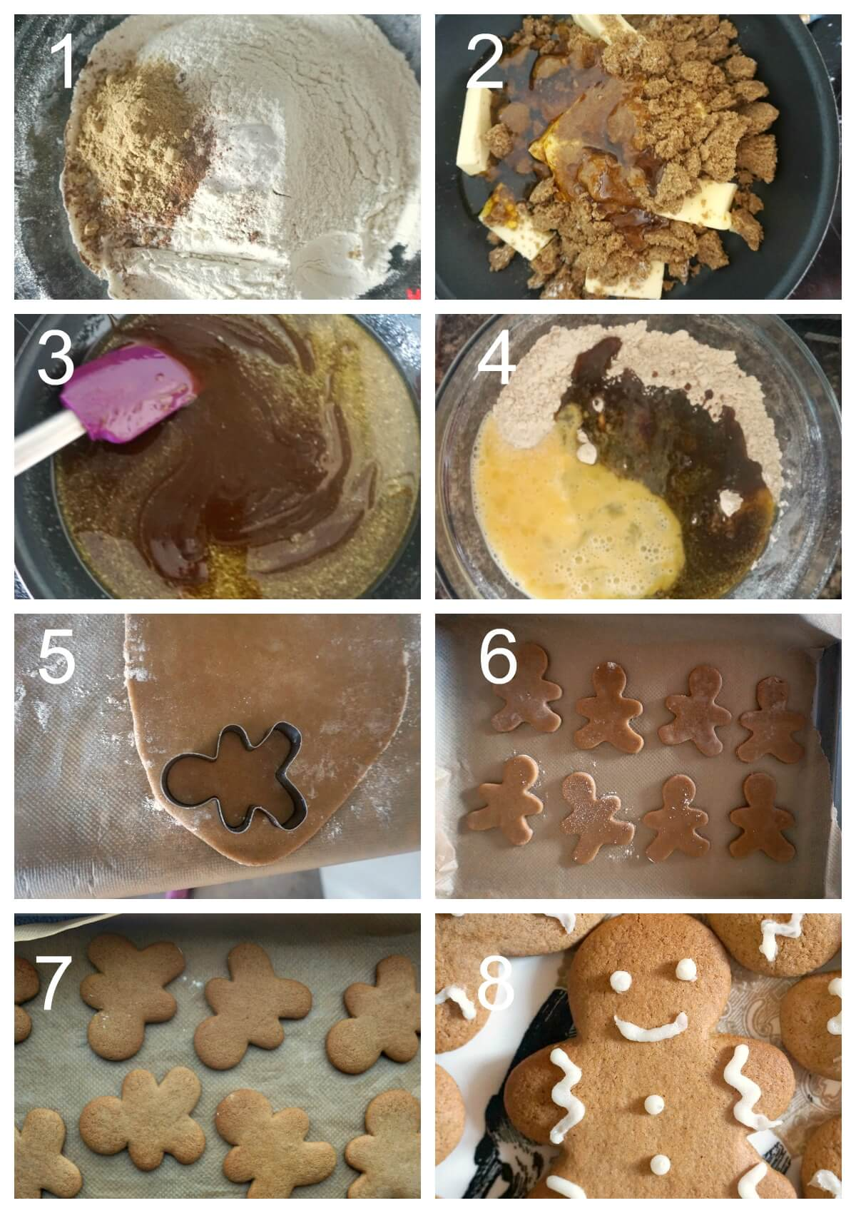 Collage of 8 photos to show how to make gingerbread men