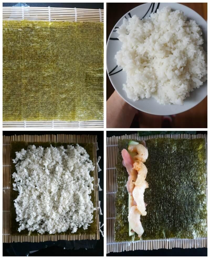Collage of 4 photos to show how to make shrimp tempura roll