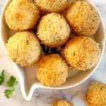 Fried Leftover Mashed Potato Balls, sinfully golden and crispy on the outside, but soft on the inside. These easy potato bites are simply delicious, and ridiculously easy to make. The best way to use up leftover mash from big celebrations like Thanksgiving or Christmas.