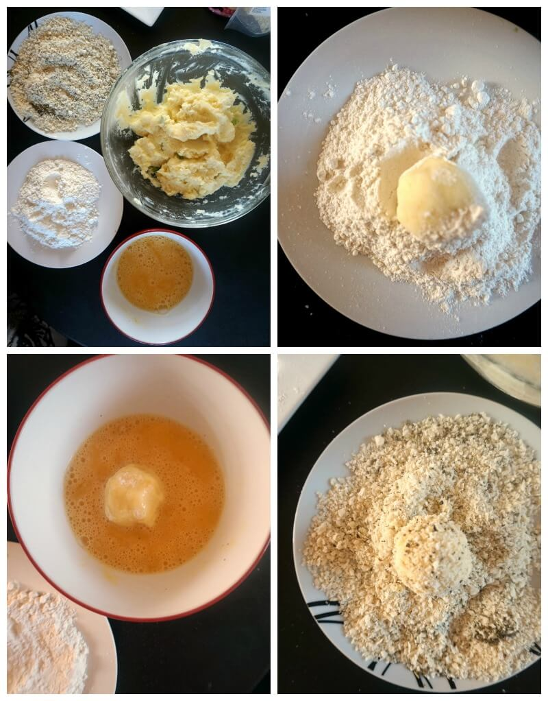 Collage of 4 photos to show how to make Leftover Mashed Potato Balls