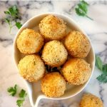 Leftover Mashed Potato Balls, the best appetizer for your New Year's Eve party. Sinfully golden and crispy on the outside, but soft on the inside, these bites are simply delicious.