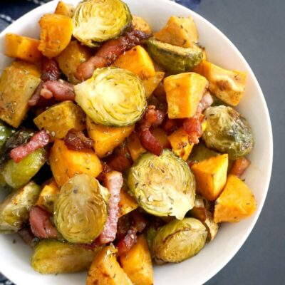 Maple Roasted Brussel Sprouts with Bacon and Sweet Potatoes