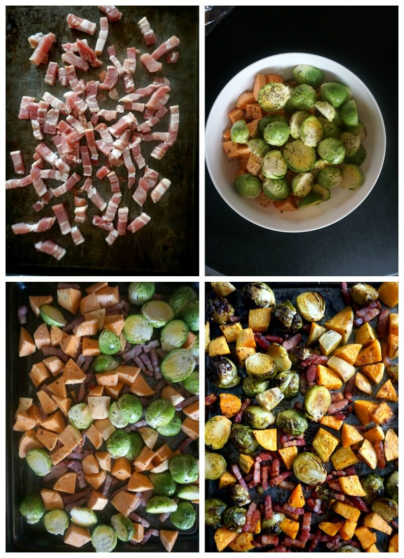 Collage of 4 photos to show how to make Maple Roasted Brussel Sprouts with Bacon and Sweet Potatoes