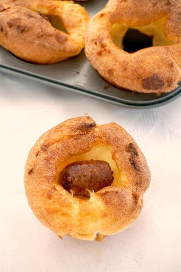 Mini Toad in the Hole Canapé on a white table cloth