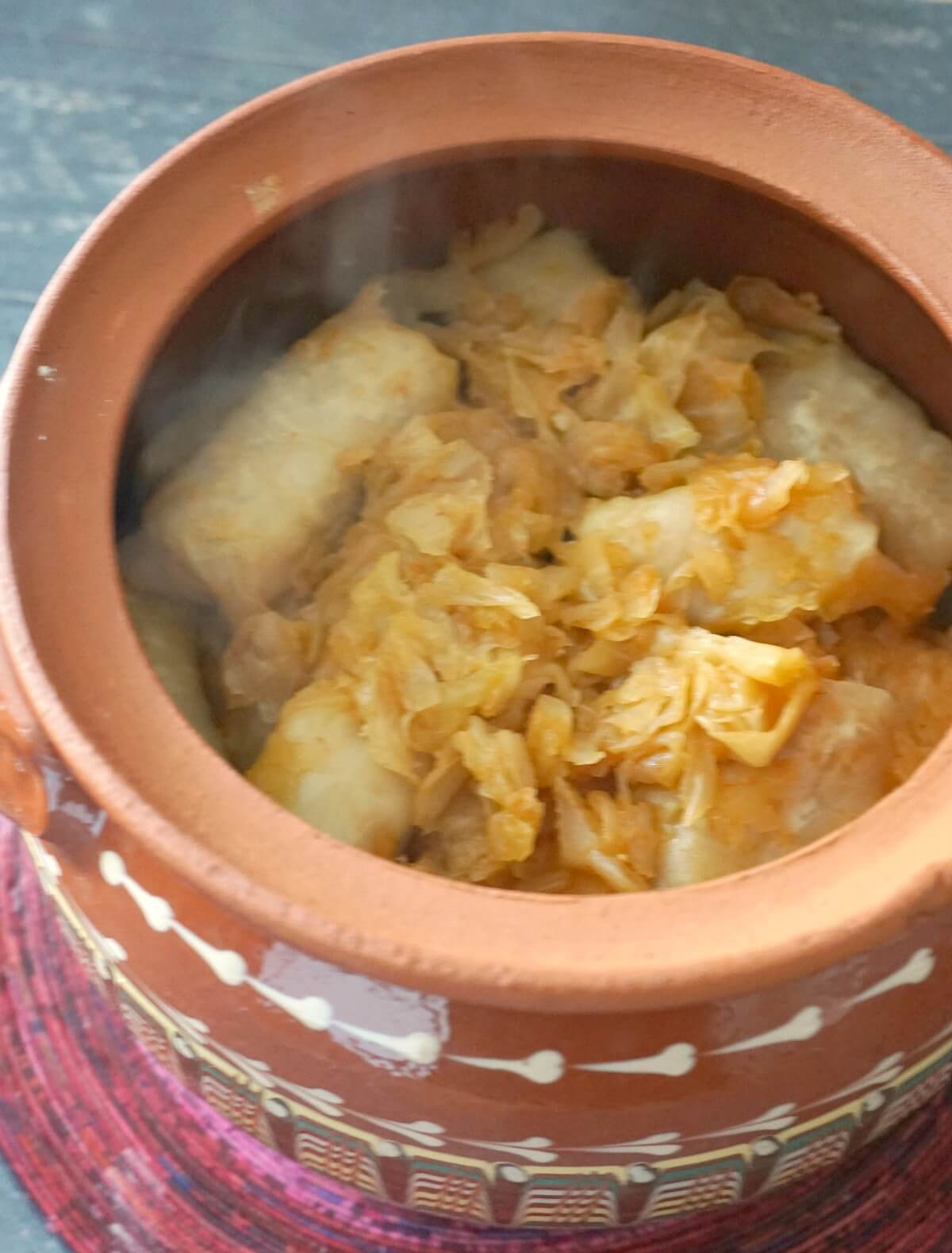 A pot of stuffed cabbage rolls
