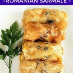 These Easy Stuffed Cabbage Rolls, or the Romanian Sarmale, are a healthy dinner dish made with ground meat and rice, rolled in cabbage leaves or sauerkraut, and cooked in a light tomato sauce until tender. It's a traditional dish in Romania, which is a classic recipe at Christmas, but also all year round. Quick and easy to make, these cabbage rolls are best seved with polenta and sour cream. The best homemade dinner recipe! #cabbagerolls, #romaniansarmale, #dinnerrecipe, #healthydinnerideas