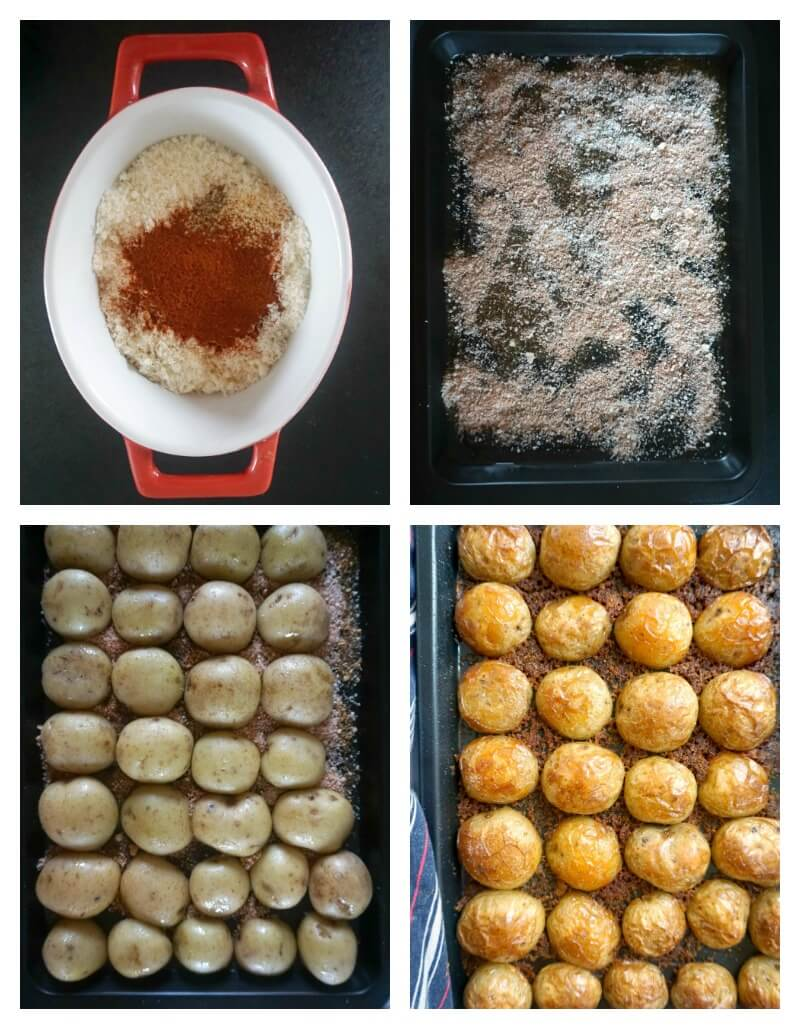 Collage of 4 photos to show step by step how to make Crispy Roasted Garlic Parmesan Potatoes