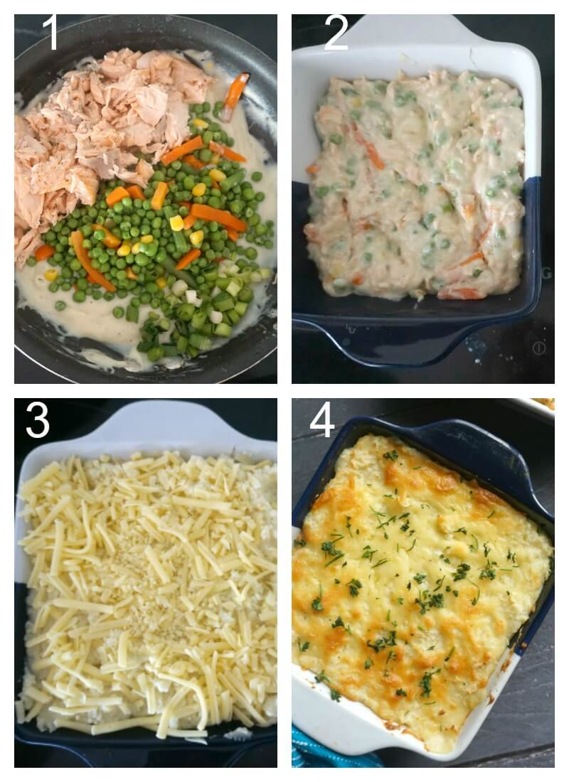 Collage of 4 photos to show how to make fish pie with mashed potatoes