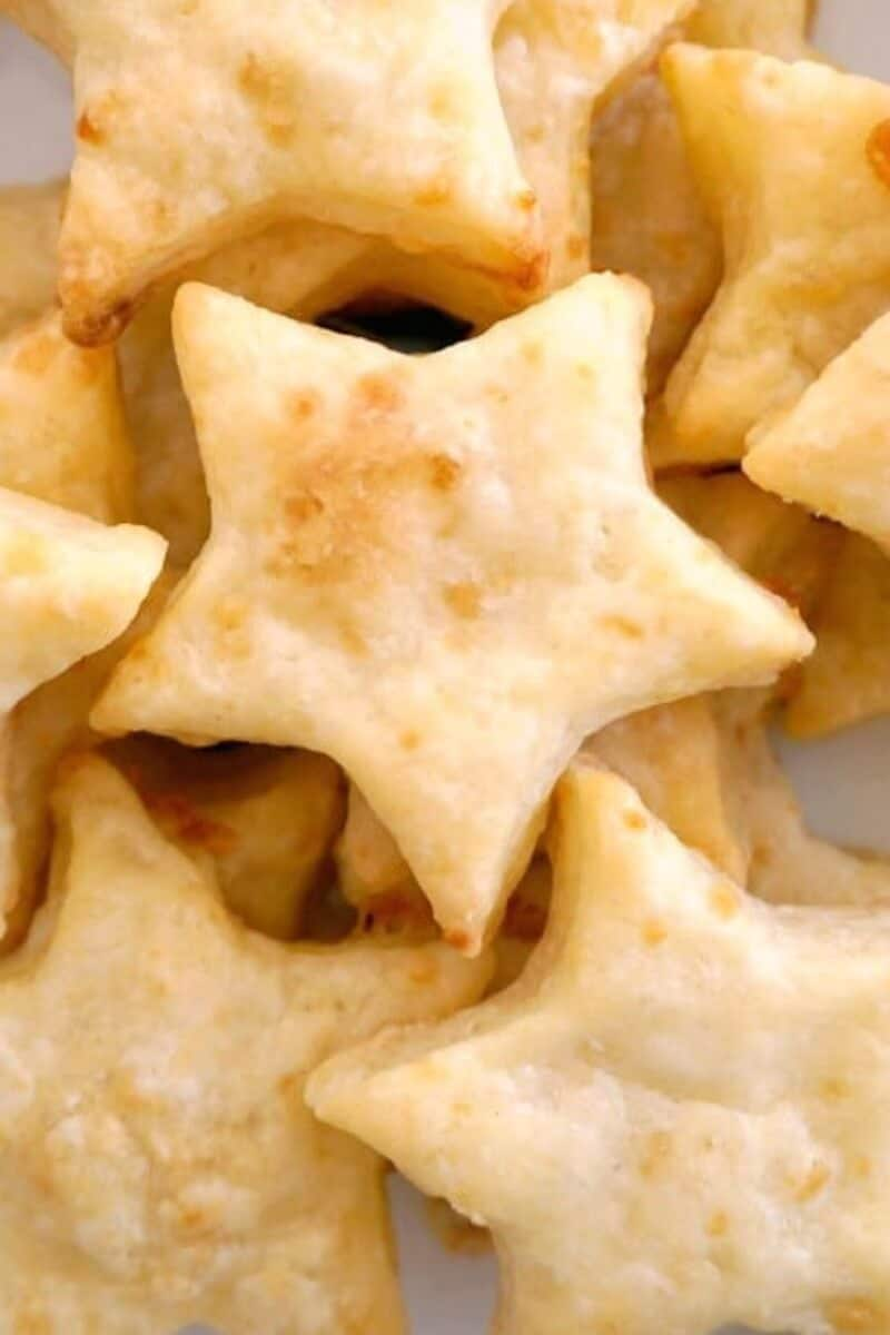 Close-up shoot of star-shaped cheese crackers
