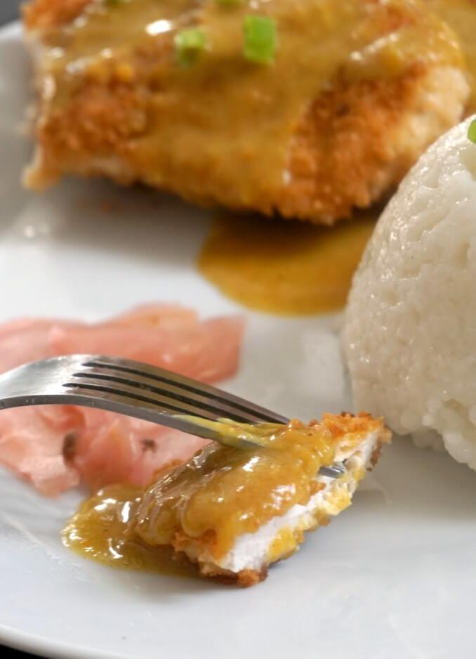 Japanese Chicken Katsu Curry with rice on a white plate