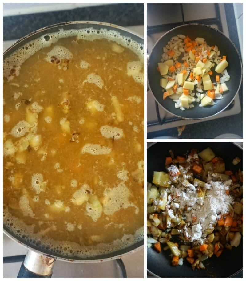 Collage of 3 photos to show how to make japanese chicken katsu curry sauce