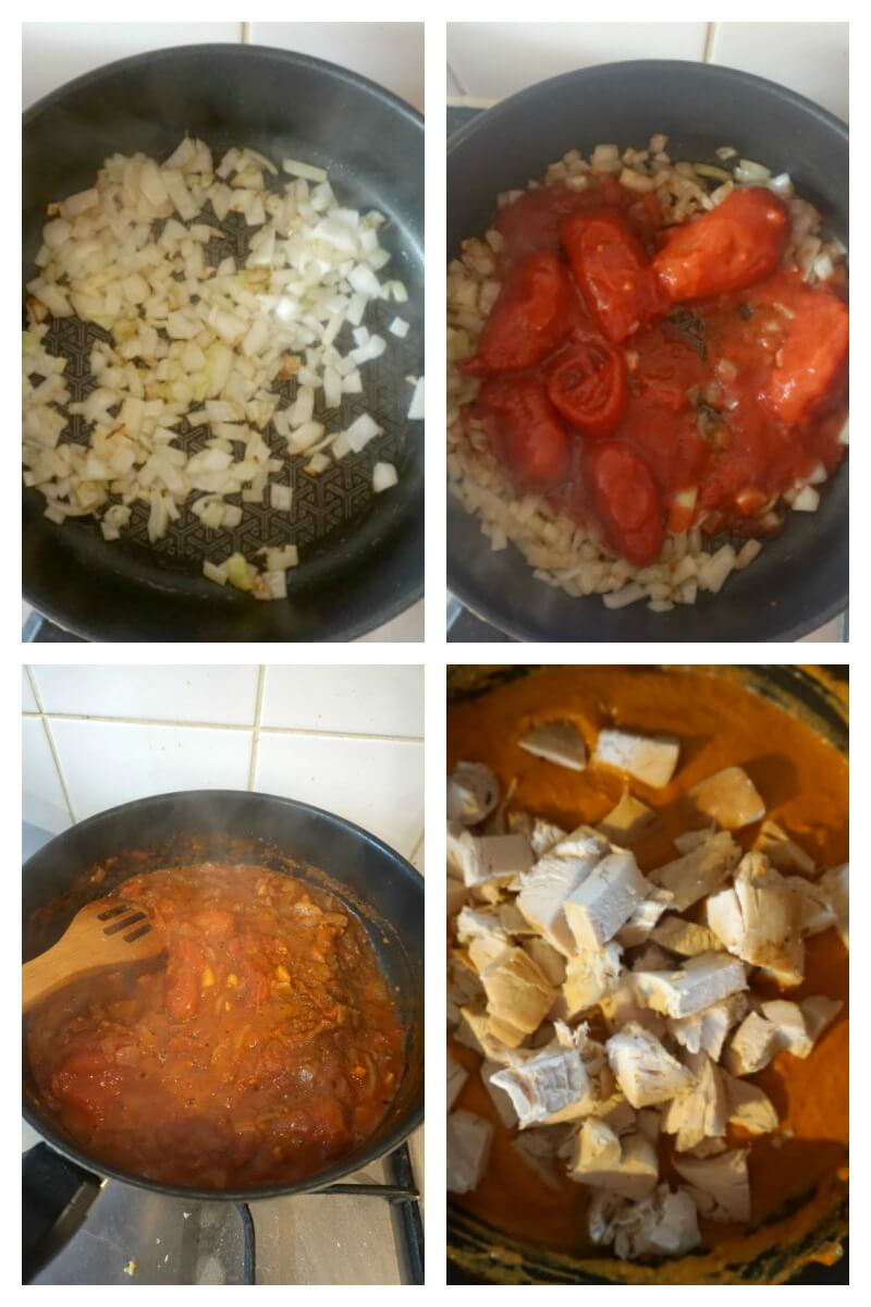 Collage of 4 photos to show how to make Leftover Turkey Curry