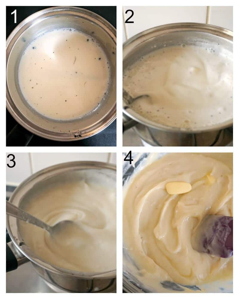 Collage of 4 photos to show how to make creme patissiere for eclairs