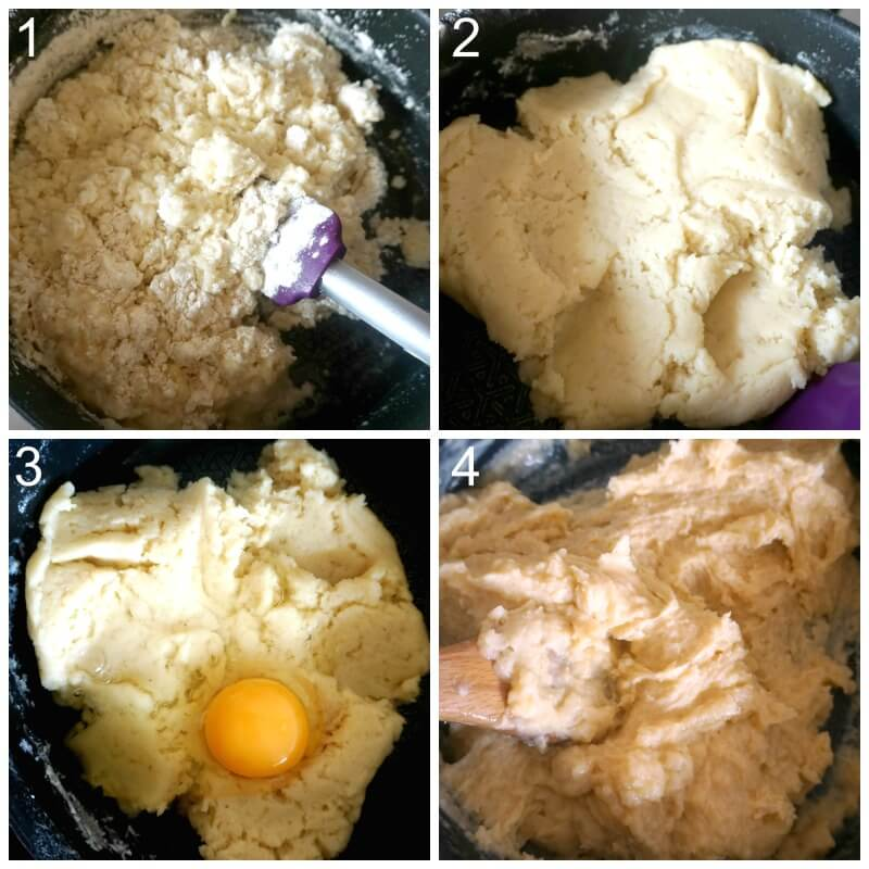 collage of 4 photos to show how to make choux pastry for eclairs