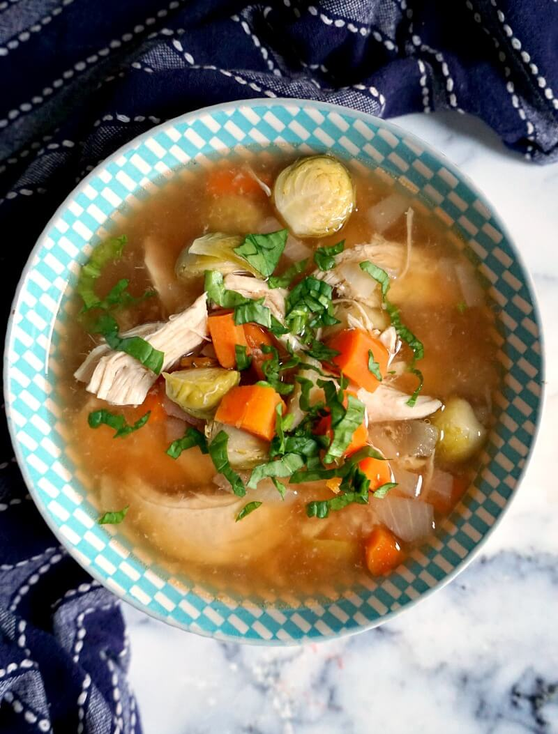 Overhead shoot of a bowl of slow cooker chicken soup