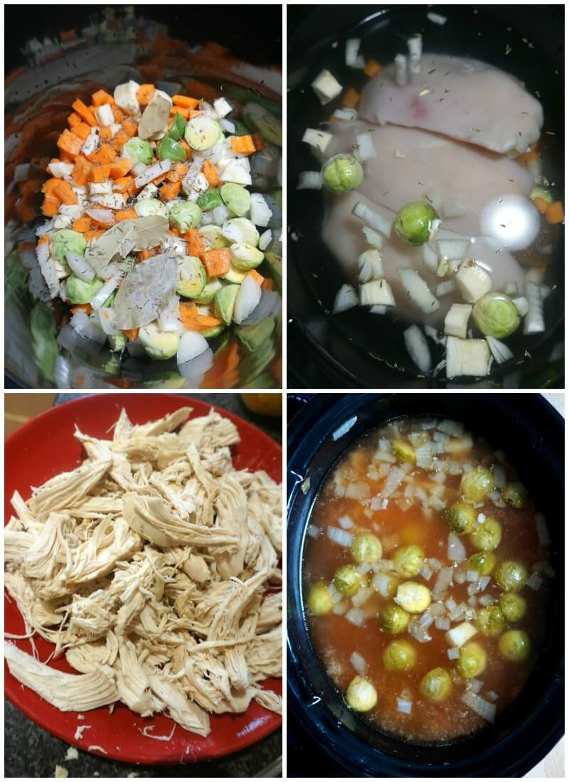 Collage of 4 photos to show how to make slow cooker chicken soup