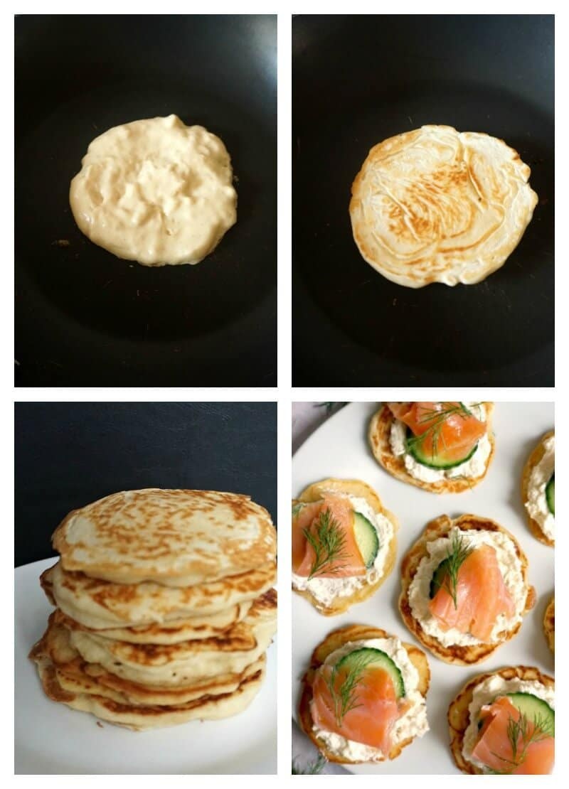 Collage of 4 pictures to show how to make Smoked Salmon Blini Canapés