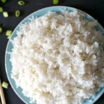 Overhead shoot of a plate with fluffy basmati rice
