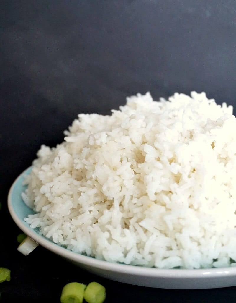 A plate with fluffy basmati rice