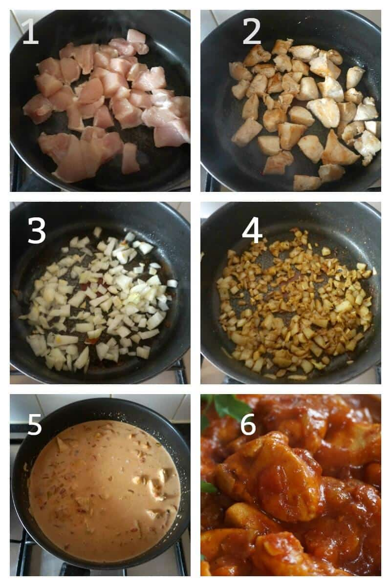 Collage of 6 photos to show how to make indian chicken curry with coconut milk