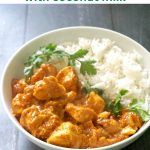 Indian Chicken Curry with Coconut Milk, a quick and easy recipe that is ready in about 30 minutes. The creamy coconut sauce is mild, but heavenly flavourful, and the chicken is tender and cooked to perfection. The perfect midweek dinner recipe for the whole family.