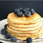 Low Carb Almond Pancakes, fluffy and light, and super easy to make. They are gluten free, keto and low calorie, and they are a great choice for a healthy breakfast or brunch. Serve them with honey, or maple syrup and the fruit of your choice.