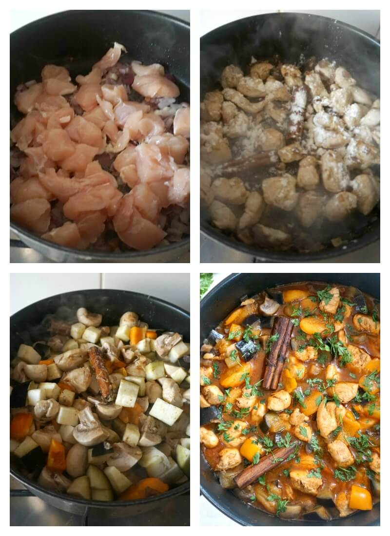 Collage of 4 photos to show how to make moroccan chicken tagine