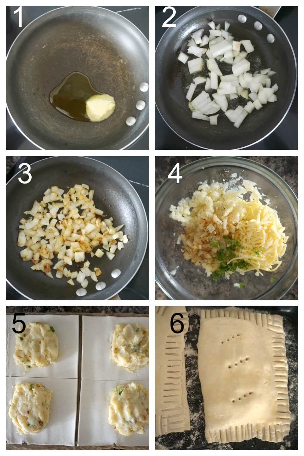 Collage of 6 photos to show how to make potato, cheese and onion pasty